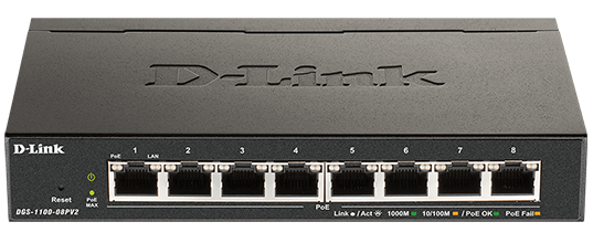 DGS-1100 V2 Series Smart Managed 8-Port PoE Gigabit Switch