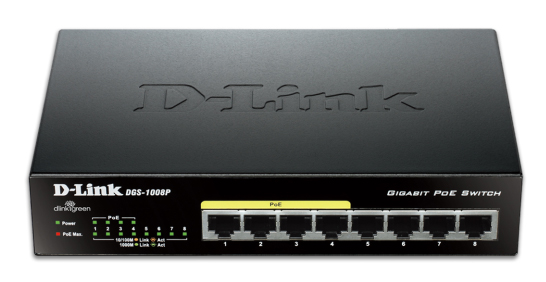 D-Link DGS-1008P 8-Port Gigabit Ethernet PoE Switch